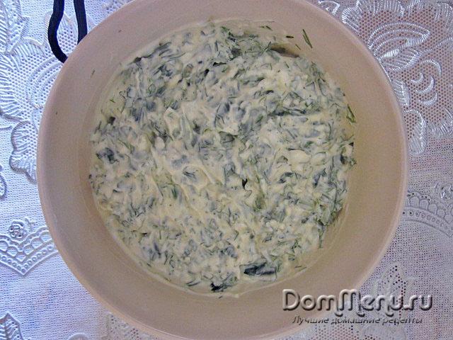Chesnok, ukrop , petrushka, maionez