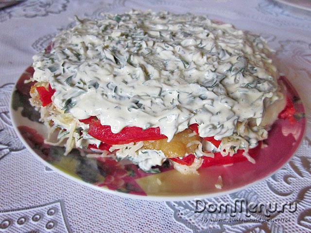 8 sloi chesnok s zelen'yu v maioneze