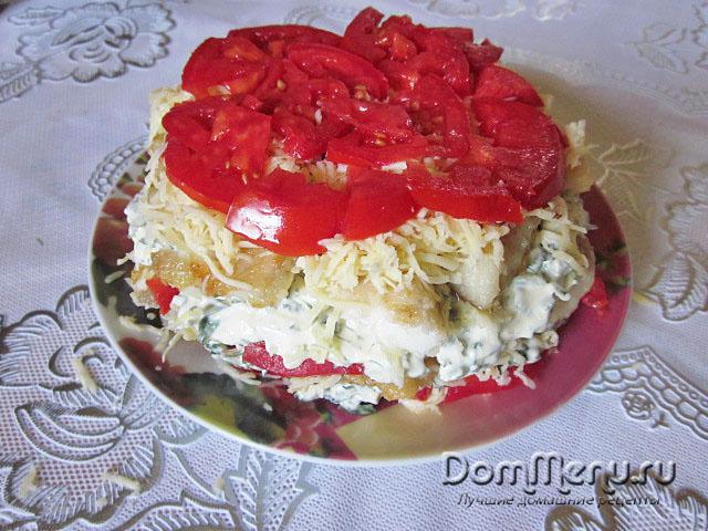 10 sloi - syr, 11 sloi - pomidory
